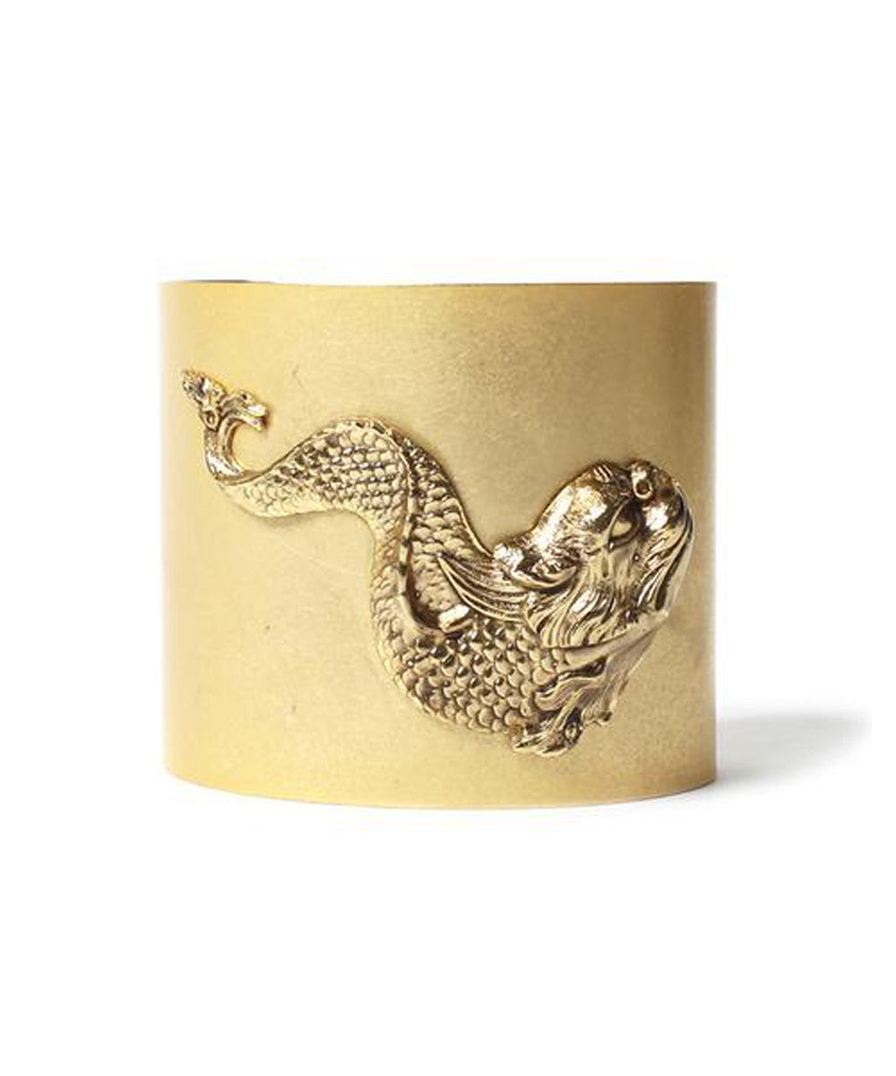 Ornella Bijoux 1970s Gold Tone Cuff with Koi Fish and Dragon Head