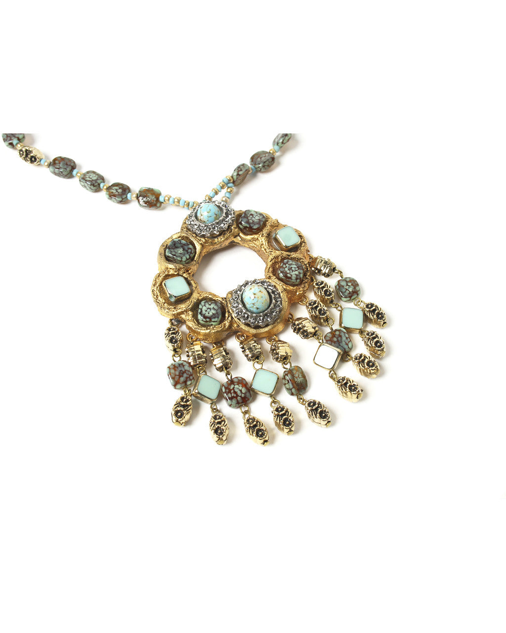 Ornella Bijoux Gold Tone Circle Turquoise Pendant Necklace