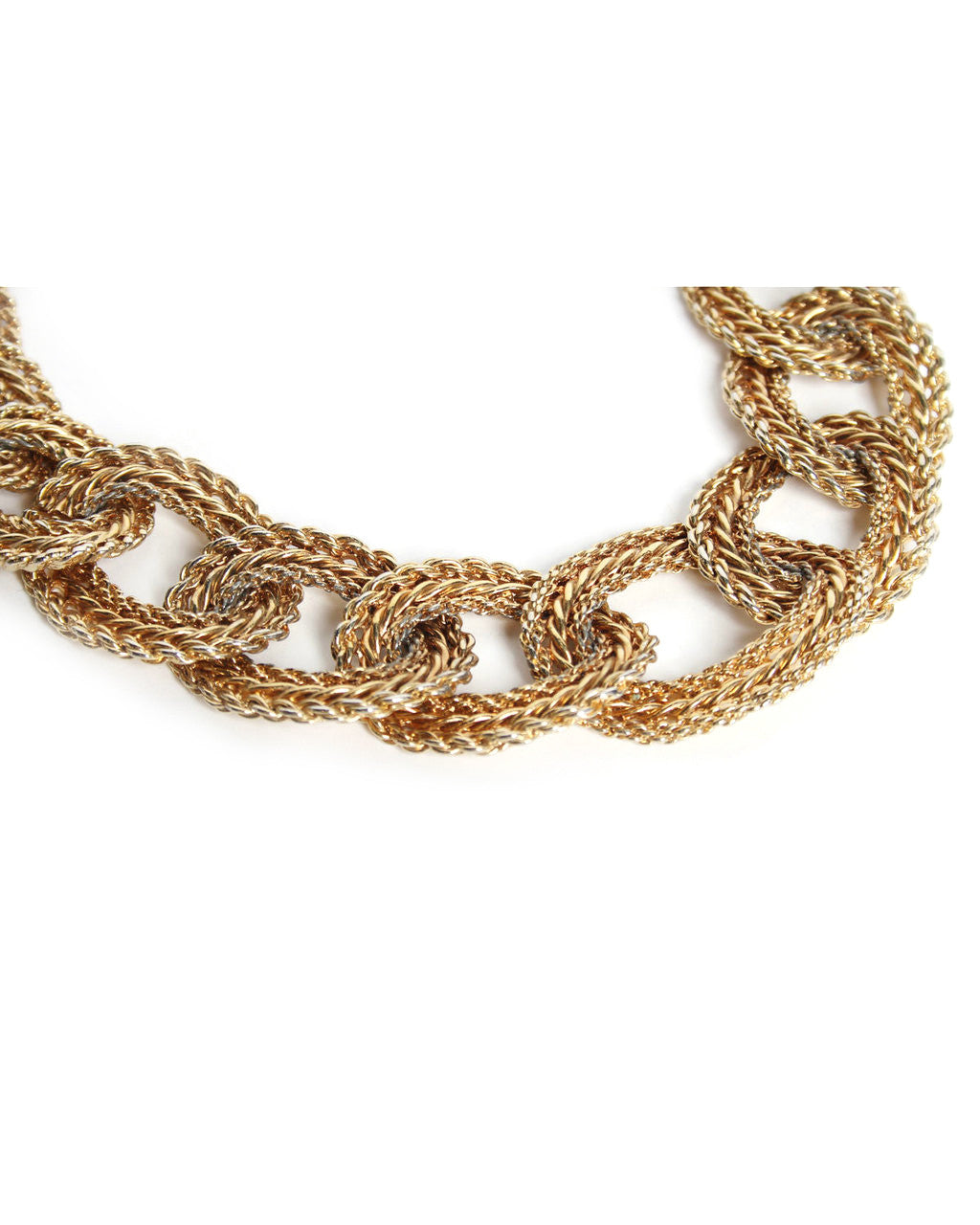 Gold Tone Chain Link Choker Necklace