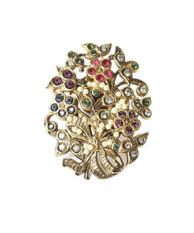 Ornella Bijoux 1980s Gold Tone Ring with Multicolor Swarovski Crystals