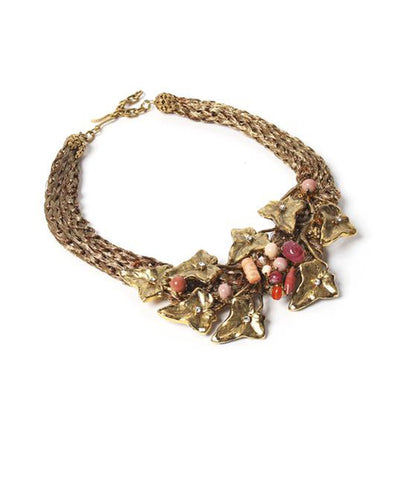Ornella Bijoux 1980s Gold Tone Leaf Bib Necklace with Rubies
