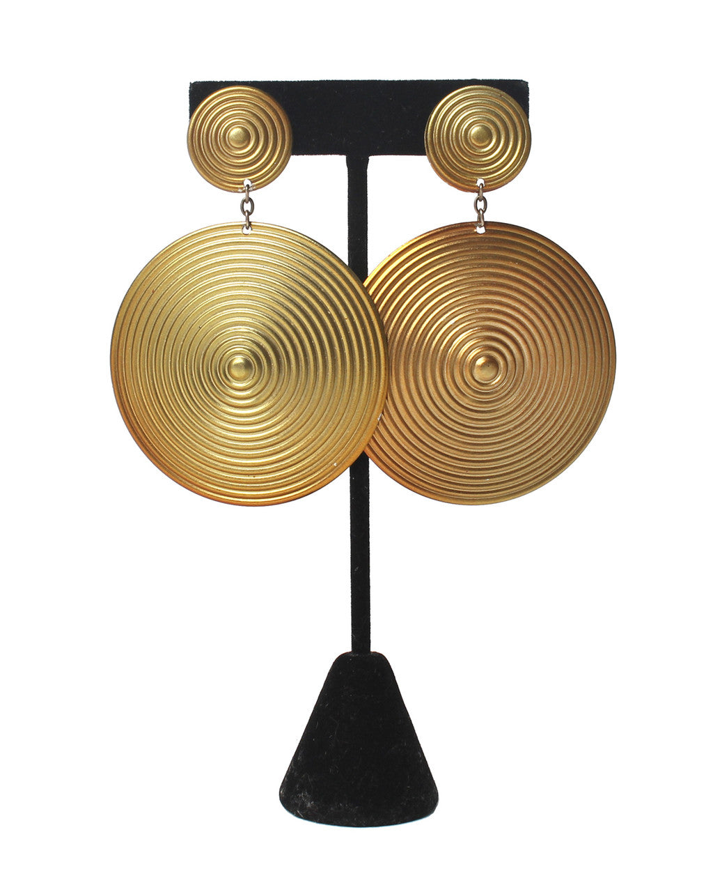 Vintage Gold Tone Abstract Hypnosis Earrings