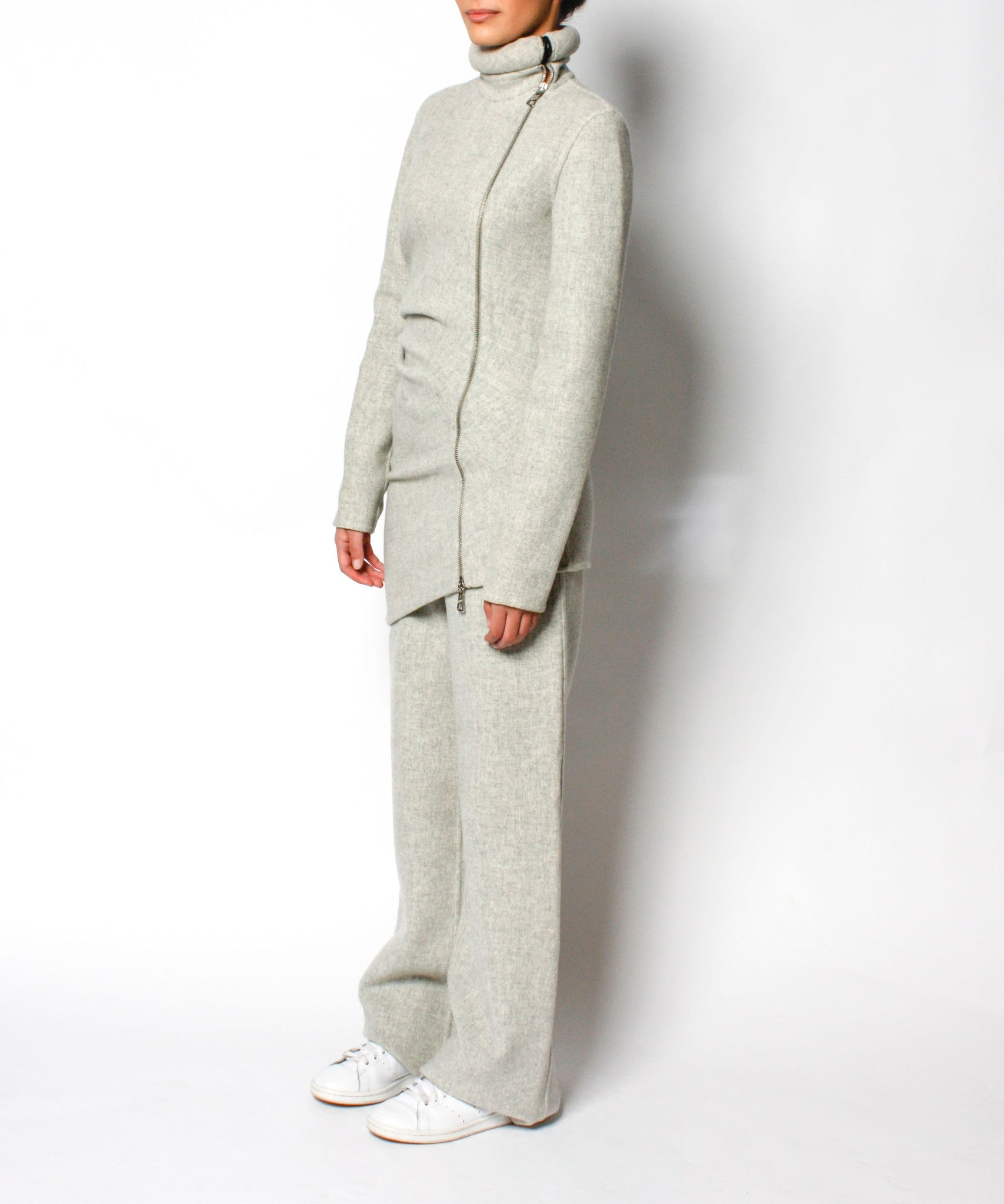 Jean Paul Gaultier 90s Gray Felted Wool With Rolled Neck Zipper Jacket and Pants Set - C.Madeleine's