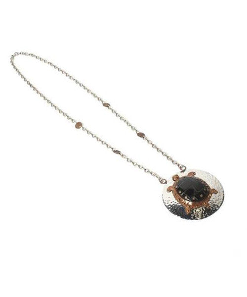 Handmade Turtle Medallion Long Chain Necklace
