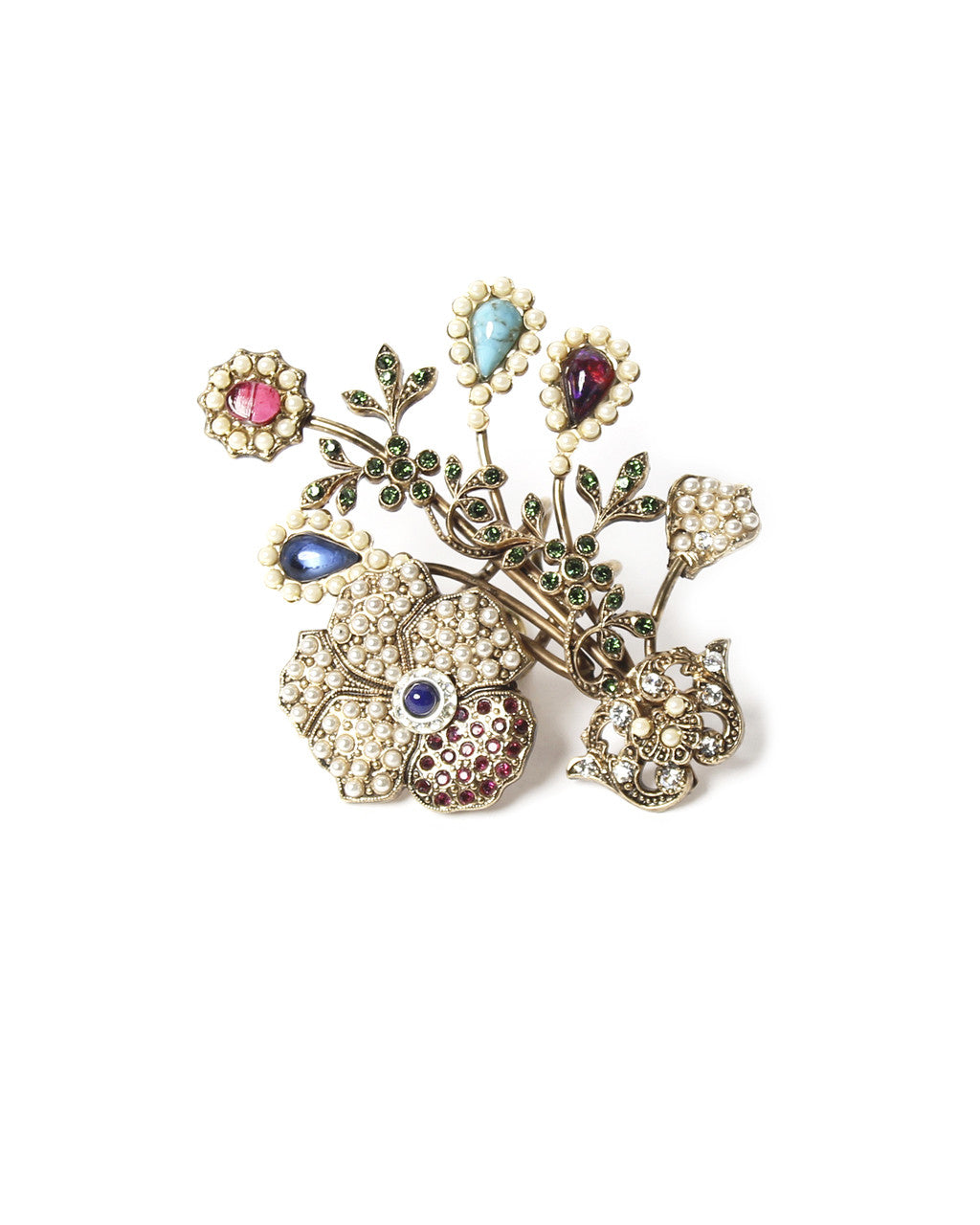 Ornella Bijoux Gold Tone Flower Ring with Pearls
