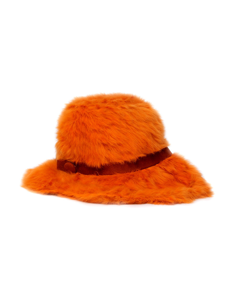 Christian Dior 1970s Shag Faux Fur Fedora Hat with Brim