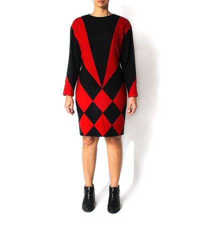1970s Red & Black Wool Knit Jester Diamond Print Dress