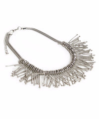 Double Strand Silver Tone Mesh Spring Choker