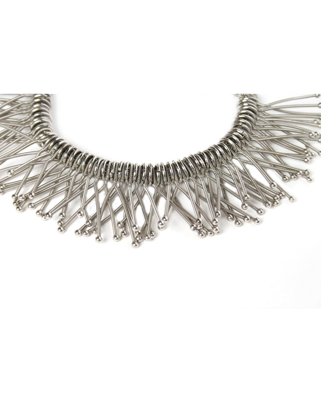 Double Strand Silver Tone Mesh Spring Choker - C.Madeleine's