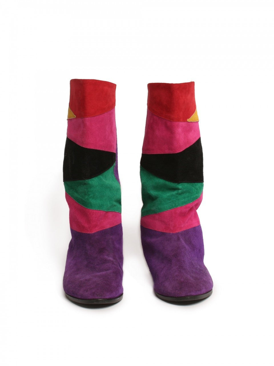 1980s Suede Patchwork Boots