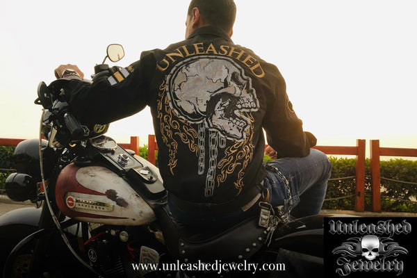 UNLEASHED CHAINED SKULL BIKER SHIRT - Unleashed Jewelry