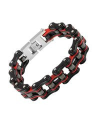Stainless Steel Bike Chain 3/4 Black and Red - Unleashed Jewelry