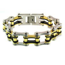 Stainless Steel Bike Chain Tri color Black Silver and Gold - Unleashed Jewelry