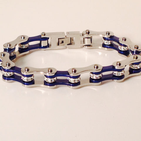 Bling Bike Chain Blue and Steel - Unleashed Jewelry