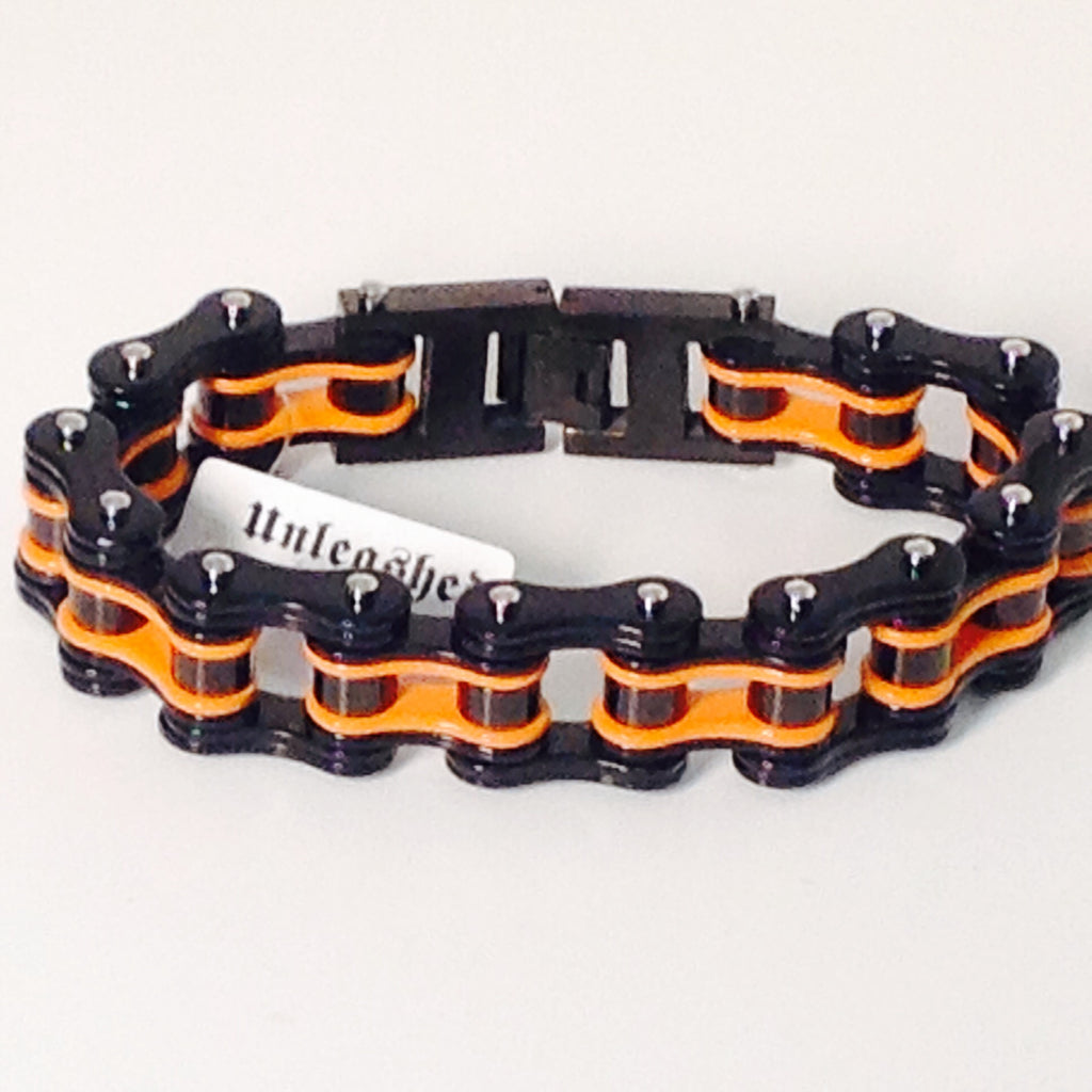 Stainless Steel Bike Chain 3/4 Black and Orange - Unleashed Jewelry