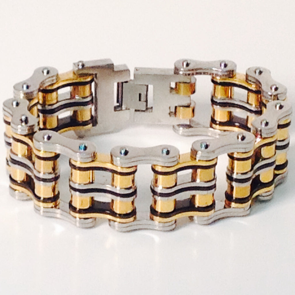 "Stainless Steel Bike Chain 1"" inch Black, Gold, and Steel - Unleashed Jewelry"