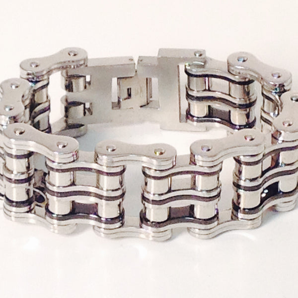 "Stainless Steel Bike Chain 1"" inch Black, and Steel - Unleashed Jewelry"