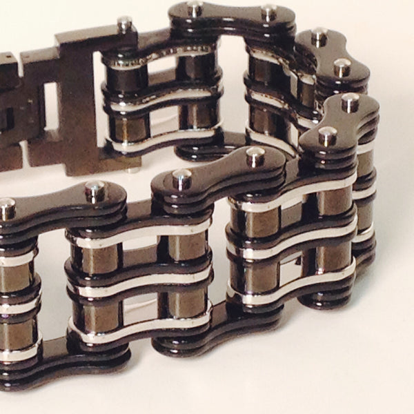 Stainless Steel Bike Chain Black and Steel 1inch