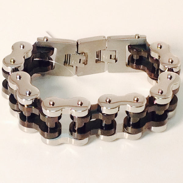 Stainless Steel Bike Chain 1' Black And Steel Solid