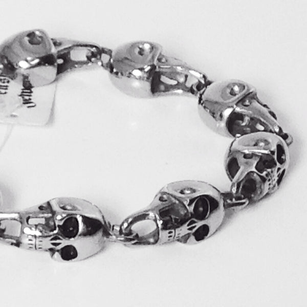 3D Skull heads bracelet with skull toggle