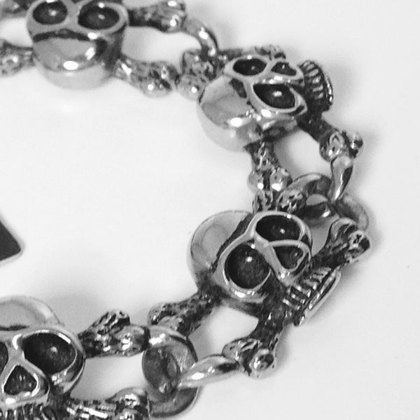 Skull heads and cross bones bracelet with claw toggle - Unleashed Jewelry
