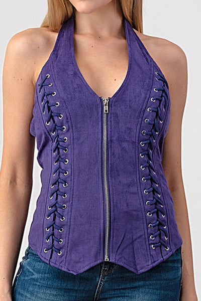 Corset Suede Halter Top Purple - Unleashed Jewelry