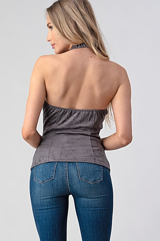 Corset Suede Halter Top Grey - Unleashed Jewelry