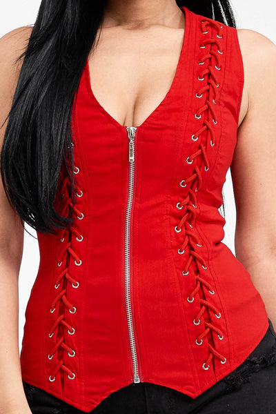 Criss Cross Back Vest Red - Unleashed Jewelry