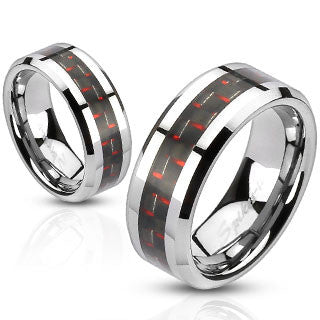 Red Carbon Fiber Stainless Steel Ring RM2315