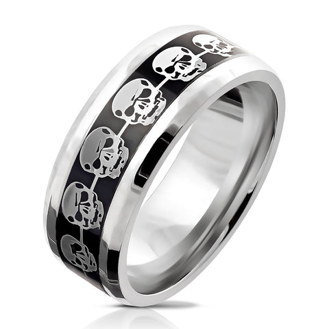 Silver Skulls on Black Inlay Stainless Steel Ring  RM6035 - Unleashed Jewelry