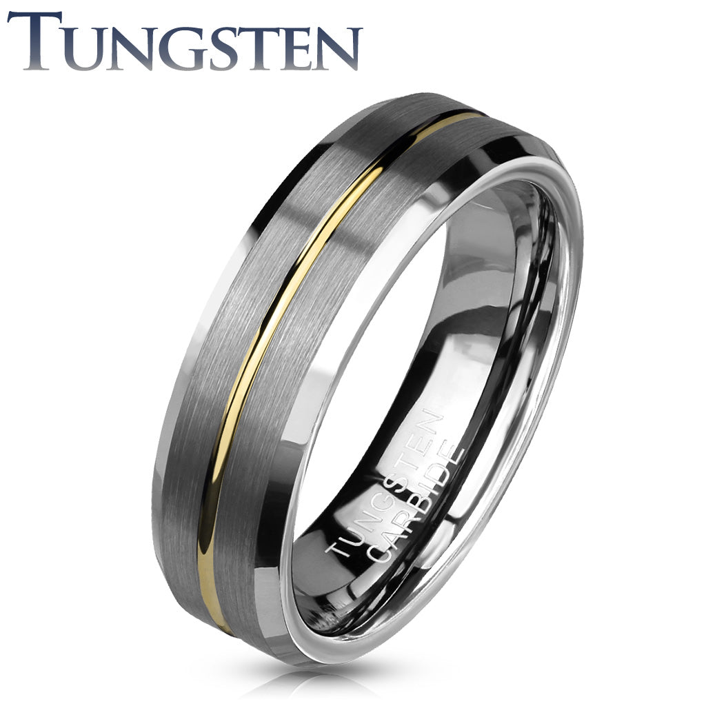 Tungsten Ring Matte Silver with Gold center - Unleashed Jewelry