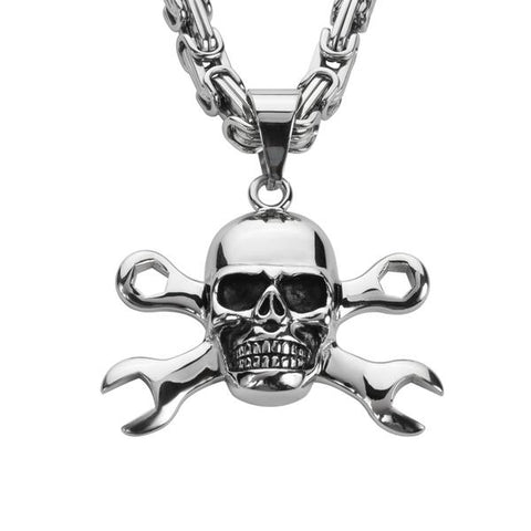 Skull and wrenches pendant with chain - Unleashed Jewelry