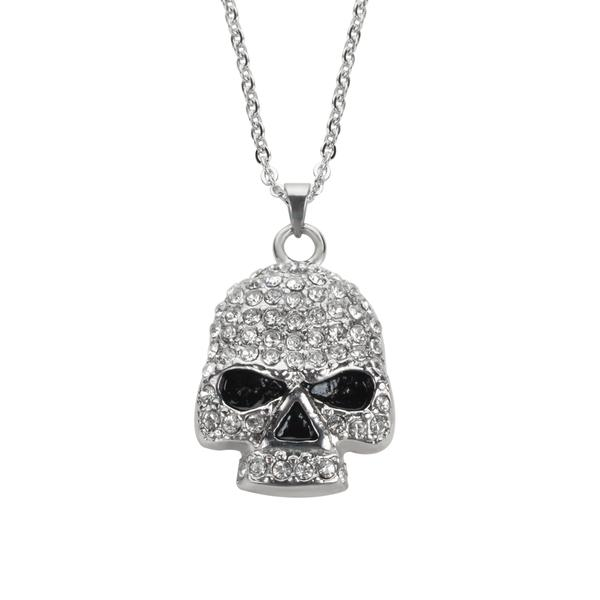 Shiny Skull Pendant with chain - Unleashed Jewelry