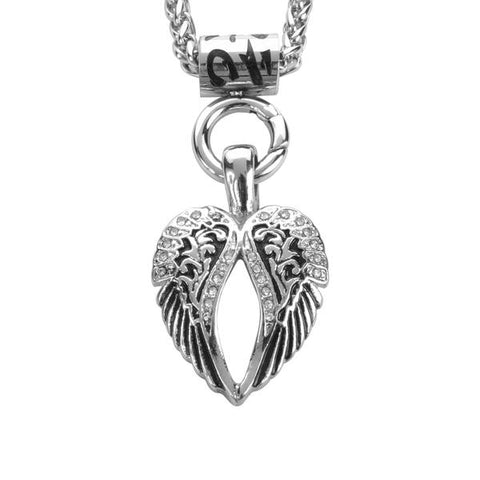 "Ladies Angel Wing Bling Pendant 19""  Necklace Stainless Steel Biker Jewelry"