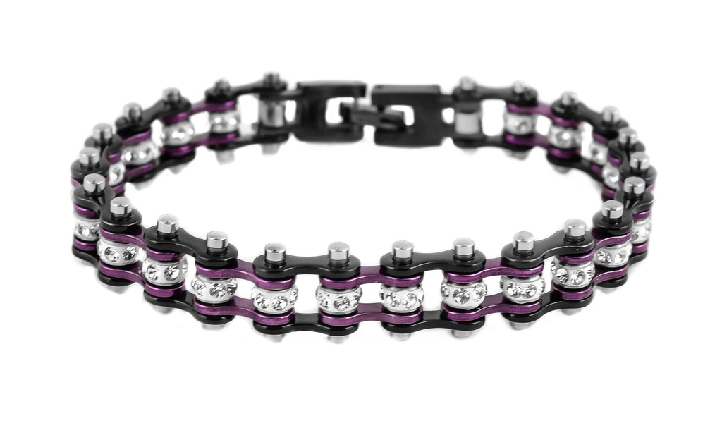 Mini Bling Crystal Bike Chain Black Purple