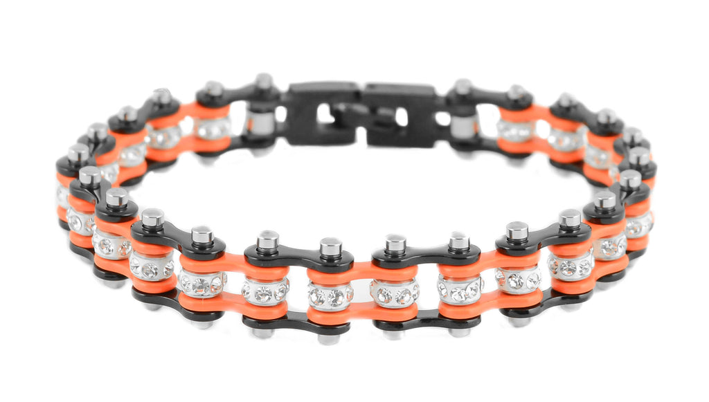 Mini Bling Crystal Bike Chain Black Orange - Unleashed Jewelry