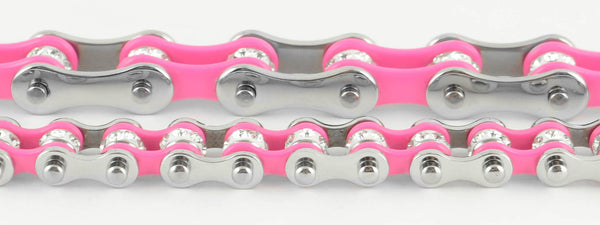 Mini Bling Crystal Bike Chain Steel Pink - Unleashed Jewelry
