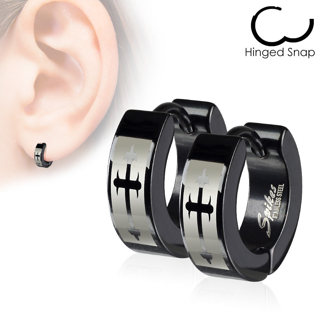 Black Hoop with cross - Unleashed Jewelry