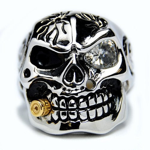 Bullet Smoking Skull - Unleashed Jewelry