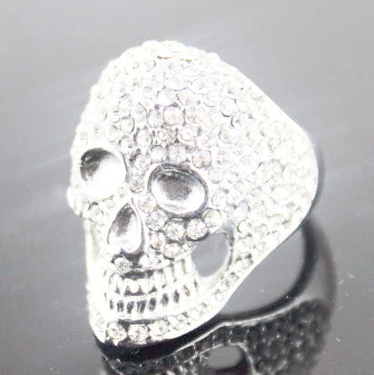 Skull Ladies Ring with Crystals