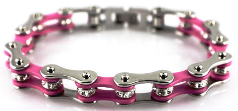Bling Bike Chain- Pink - Unleashed Jewelry