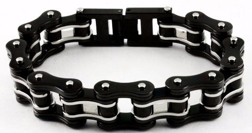 Stainless Steel Bike Chain 3/4 inch Black and Silver