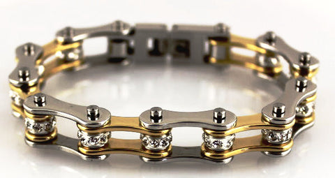 Bling Bike Chain- Gold & Stainless - Unleashed Jewelry