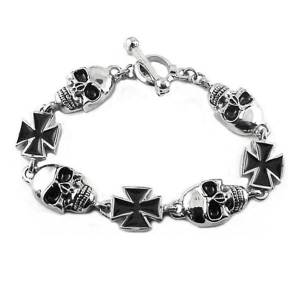 Skull with Iron cross Stainless steel bracelet - Unleashed Jewelry