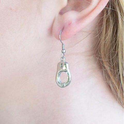 Dangling single handcuff earrings - Unleashed Jewelry