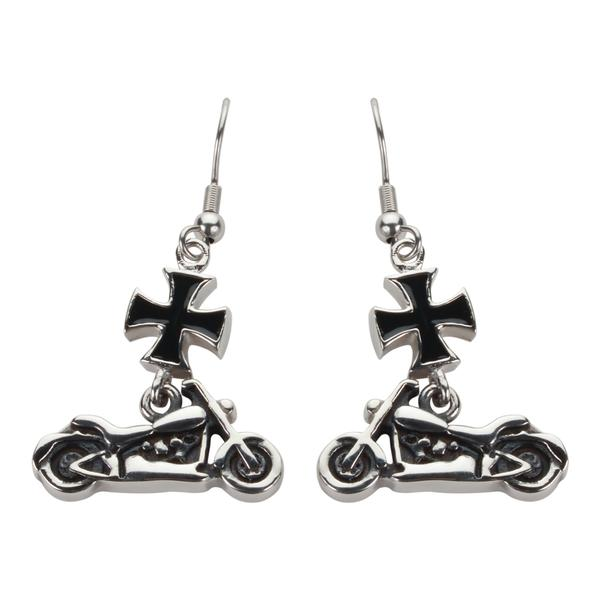 Iron Cross Motorcycle Earrings - Unleashed Jewelry