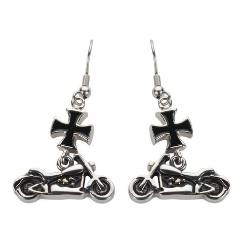 Iron Cross Motorcycle Earrings