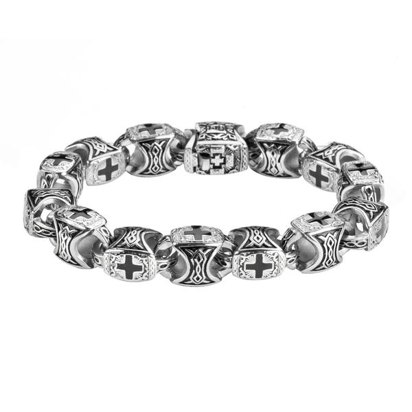 Round link carved crosses Stainless steel bracelet - Unleashed Jewelry