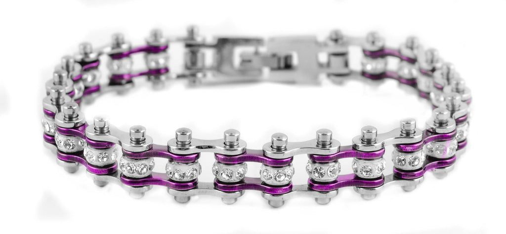 Mini Bling Crystal Bike Chain Steel Purple
