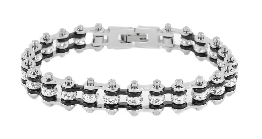 Mini Bling Crystal Bike Chain Steel Black - Unleashed Jewelry